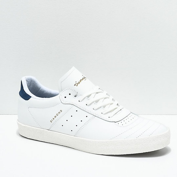 Diamond Supply Co. Other - Diamond Supply Co. Barca White Leather Skate Shoes